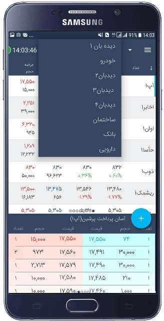 لیست دیدبانهای موجود در اپلیکیشن آسا