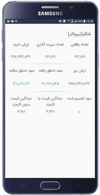 نمایش دارایی در اپلیکیشن آسا