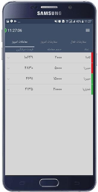 نمایش معاملات در اپلیکیشن آساتریدرآگاه