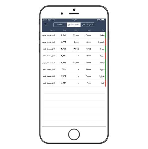 نمایش سفارشات امروز در اپلیکیشن آسا