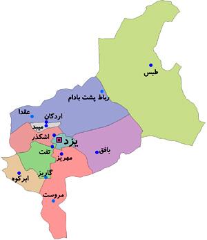 نقشه یزد
